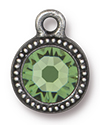 TierraCast : Drop Charm - SS34 Beaded Bezel with Peridot Crystal, Antique Pewter