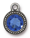 TierraCast : Drop Charm - SS34 Beaded Bezel with Sapphire Crystal, Antique Pewter