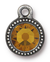 TierraCast : Drop Charm - SS34 Beaded Bezel with Topaz Crystal, Antique Pewter