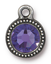 TierraCast : Drop Charm - SS34 Beaded Bezel with Tanzanite Crystal, Antique Pewter
