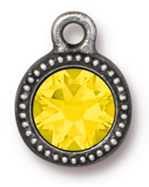 Tierracast : Drop Charm - SS34 Beaded Bezel Yellow Opal, Antique Pewter