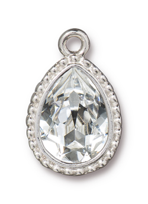TierraCast : Drop Charm - 4320 14 x 10 mm Beaded Pear with Swarovski Crystal, Rhodium
