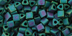 "TOHO Triangle 8/0 Tube 2.5"" : Matte-Color Iris - Teal"