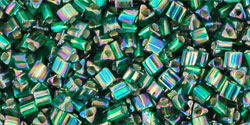 "TOHO Triangle 11/0 Tube 2.5"" : Silver-Lined Rainbow Green Emerald"