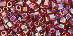 "TOHO Hex 8/0 Tube 2.5"" : Transparent-Rainbow Ruby"