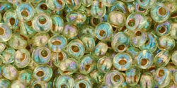 "TOHO Magatama 3mm Tube 2.5"" : Gold-Lined Rainbow Lt Jonquil"