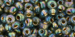 TOHO - Magatama 3mm : Gold-Lined Rainbow Black Diamond