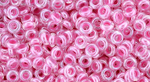 TOHO Demi Round 8/0 3mm : Inside-Color Crystal/Baby Pink-Lined