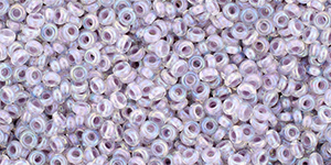 "TOHO Demi Round 11/0 2.2mm Tube 2.5"" : Inside-Color Rainbow Crystal/Pale Lavender-Lined"