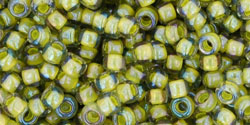 "TOHO Round 8/0 Tube 5.5"" : Inside-Color Luster Black Diamond/Opaque Yellow-Lined"