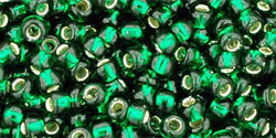 "TOHO Round 8/0 Tube 5.5"" : Silver-Lined Green Emerald"