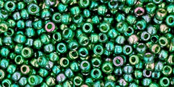 "TOHO Round 11/0 Tube 5.5"" : Gold-Lustered Emerald"