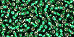 "TOHO Round 11/0 Tube 5.5"" : Silver-Lined Green Emerald"