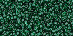 "TOHO Round 15/0 Tube 2.5"" : Transparent Green Emerald"