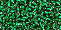 "TOHO Treasure #1 Tube 2.5"" : Transparent Silver-Lined Green Emerald"