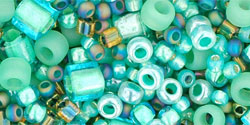 "TOHO Multi-Shape/Color Mix Tube 2.5"" : Take- Seafoam/Green Mix"