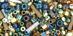 "Multi-Shape/Color Mix Tube 5.5"" : Raiden- Gold/Green/Blue Mix"