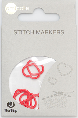 Tulip - Stitch Markers (7 pcs): Heart - Red Large