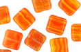 Loose Flat Squares 9mm : HurriCane Glass Red Orange