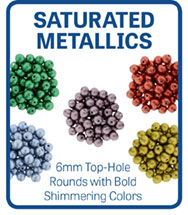 Saturated Metallic Top-Hole Round Beads